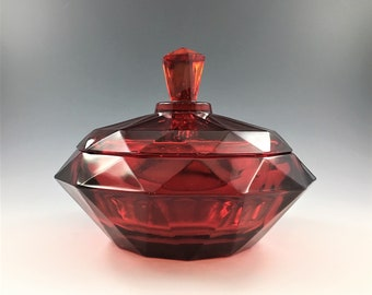 Viking Epic Ruby Diamond Point Candy Dish - Mid Century Glass Candy Dish - MCM Decor - Hard to Find - #6816