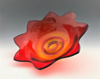 Vintage Amberina Glass Flower Petal Bowl - Star Shaped Serving Bowl Red Yellow