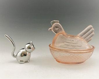 Vintage Pink Glass Hen On Nest - Chicken Candy Jar - Glass HON