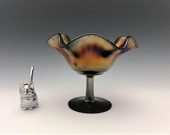Northwood Smooth Rays Compote - Amethyst Black - Iridescent Carnival Glass