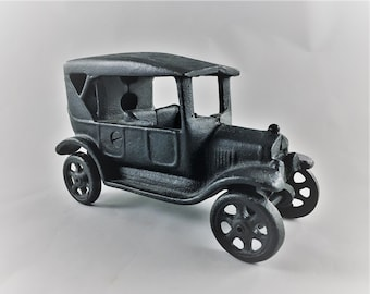 Vintage Cast Iron Car - Two Piece Classic Car Toy - Black Metal Car