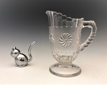 EAPG Creamer - U.S. Glass Company - No. 15030 - AKA Roman Rosette - Early American Pattern Glass Cream Pitcher - Circa 1894