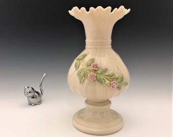 Vintage Balleek Irish Porcelain Vase With Applied Roses