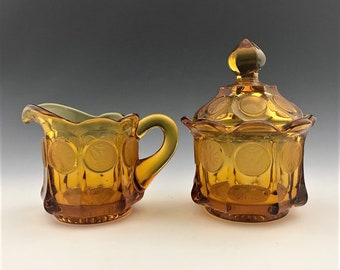 Fostoria Coin Glass Amber Breakfast Set - Creamer and Covered Sugar Bowl