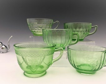 Set of 5 Green Depression Glass Cups - Glowing Uranium Glass - Five Different Patterns - Collection Jump Start