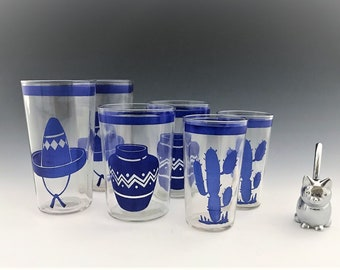 Set of 6 Vintage Fiestaware Go-With Tumblers - Set of 6 Blue Graphic Tumblers - Hard to Find Glasses