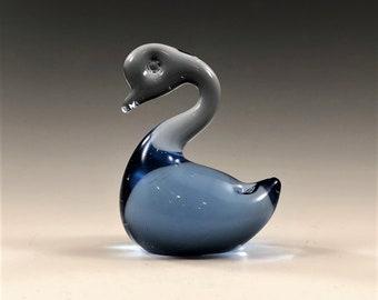Blue Art Glass Duck Figurine