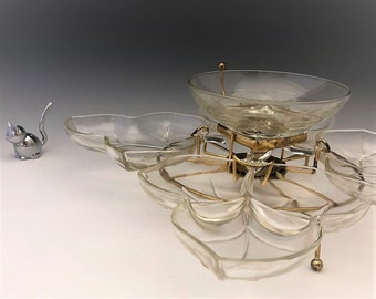 Hazel Atlas - Brass and Glass - Crystal Susan - Entertaining Set - Chip and Dip Set - Mid Century