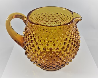 Hard to Find Amber Glass Hobnail Pitcher - Amber Glass Jug - Fenton Glass 32 Ounce Squat Jug