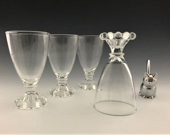 Set of 4 Anchor Hocking Boopie Clear Juice/Wine Glasses - Mid Century Glassware