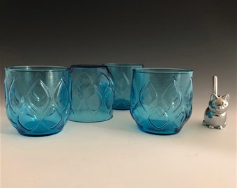 Set of 4 Anchor Hocking Madrid Blue Tumblers - Double Old Fashioned Glasses - 10 Ounce Glasses