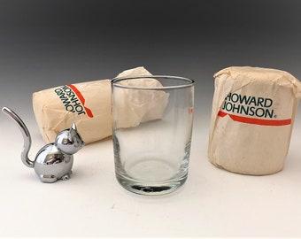 Howard Johnson Glasses - Vintage Paper Wrapped Drinking Glasses - Set of Two