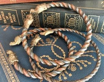 Set of 3 Vintage Viking/Norse Bracelets or Armbands - Twisted Metal Bangles - Figural Heads