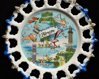 Vintage Souvenir Plate From Florida - Sate Wall Plate - Collectible Florida Tourist Plate