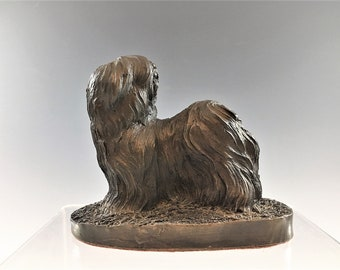 Vintage Heredities Lhasa Apso Figurine - Signed Jean Spouse Statue - Beauty of Bronze - Cold Cast Bronze