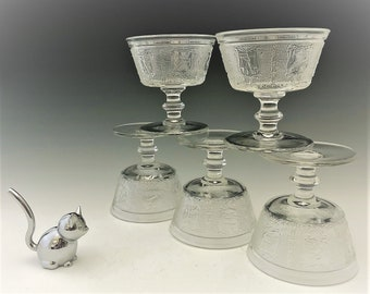 Imperial Glass Zodiac Pattern (#1590) - Set of 5 Champagne/Footed Sherbet Dishes - Hard to Find