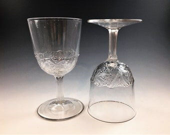 Set of 2 EAPG Glass Goblets - Maple Leaf Band - Circa 188o's - Hard to Find  Early American Pattern Glass