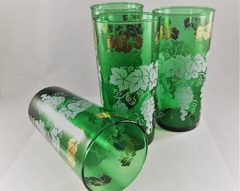 Set of 4 Mid Century Glass Tumblers - MCM Barware - Green Glasses - White and Gold - Grapes and Leaf Motif