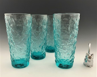 Anchor Hocking Milano Aqua 14 Ounce Flat Tumblers - Set of 4 - Hard to Find - Mid-Century Drinkware