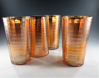 Set of 6 Vintage Carnival Glass Tumblers - Jeannette Glass Banded Ribs Pattern - 12 Ounce - Marigold Peach - Block Optic Design