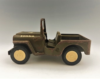 Vintage Tonka Jeep - Green Army Jeep