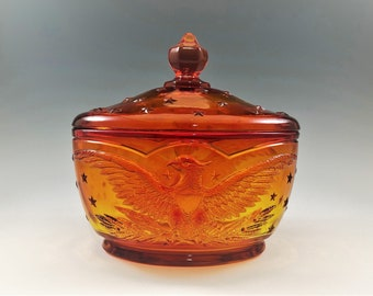 L.E. Smith Eagle Pattern - 4564 Candy Box in Flame (Amberina) - Federal Eagle - Vintage Covered Candy Jar