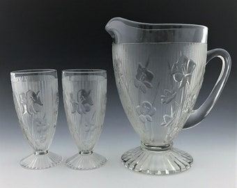 Jeannette Iris Clear Water Set - Pitcher and 6 Glasses - Depression Era Glass