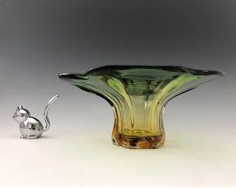 Murano-Style Art Glass Vase - Green/Amber Glass Vase