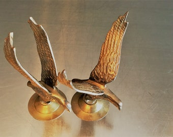 Two Small Brass Eagle Figurines - Eagles in Flight - India Brass