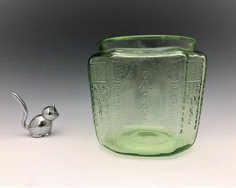 Hocking Glass Princess Pattern - Cookie Jar - Green Depression Glass Biscuit Jar - Glowing Uranium Glass