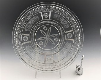 EAPG Beverage Tray/Platter - Bryce Brothers Glass - Wreath Pattern (OMN) - AKA Willow Oak - Early American Pattern Glass - Circa 1880s