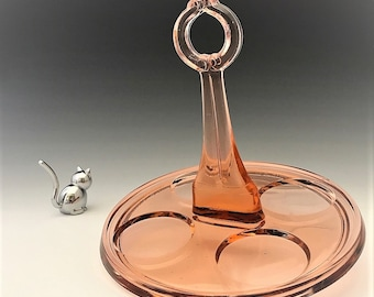 Pink Depression Era Glass Beverage Caddy - Dunbar Glass #1247 Beverage Tray
