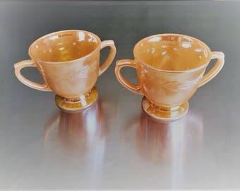 Two Vintage Anchor Hocking Fire King Lusterware - Sugar Bowls - Peach Lustre Laurel Pattern