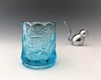 L.G. Wright Cherry Toothpick Holder - Blue Glass Toothpick Holder
