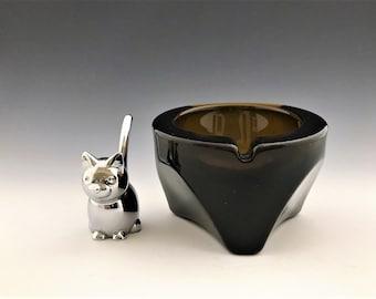 Viking Tripod Orb Ashtray - Brown - Heavy Mid-Century Glass Ashtray
