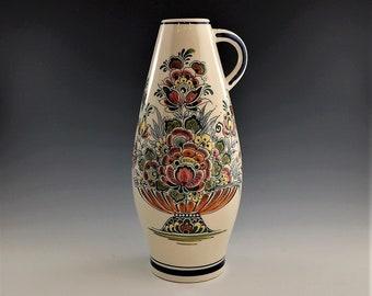 Vintage Delfts Blauw Ceramic Vase - Hand Painted - Made In Holland - Jumbo Gouderak - Floral Motif Vase - Hard to Find