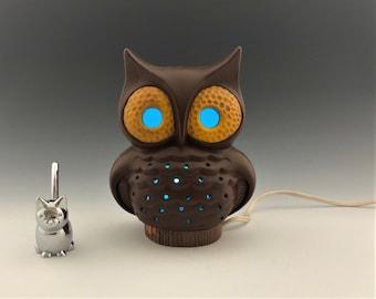 Ceramic Owl Lamp - Electric Night Light - Vintage Side Lamp