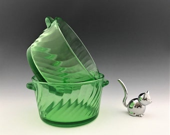 Set of Two Hocking Glass Ice Buckets - Spiral Green Pattern - Uranium Glass - Depression Glass Handled Bowls - Butter Tubs