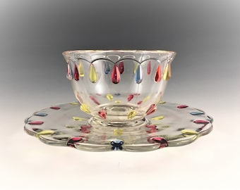 Indiana Glass Mayonnaise Bowl and Underplate - Teardrop Pattern #1011 - Circa 1940's - Hard to Find