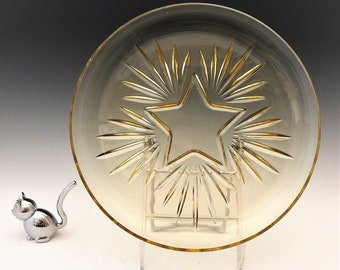 Federal Glass Star Pattern - Amber Mid Century Dinner Plate - 9 1/2 Inch Plate