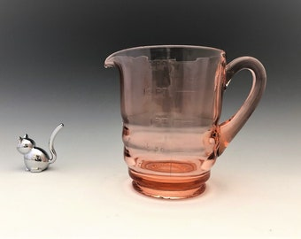 Paden City Party Line Measuring Pitcher -  Cheriglo - Pink Depression Era Glass - Graduated Measuring Cup - 2 Pint