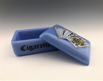 Blue Milk Glass Cigarette Box With Playing Card Decoration - Lidded Glass Box