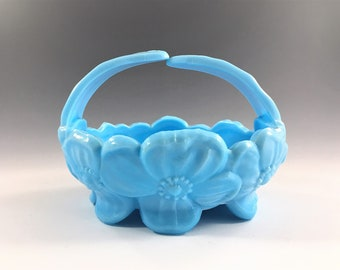 Vintage Westmoreland Dogwood Pattern Split Handle Bowl - Hard o Find - Blue Milk Glass Footed Bowl