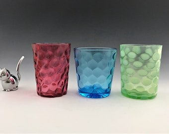 Collection of 3 Early American Pattern Glass Tumblers - Colorful Glassware - Green Blue and Red Glasses - Dot and Optic Motifs