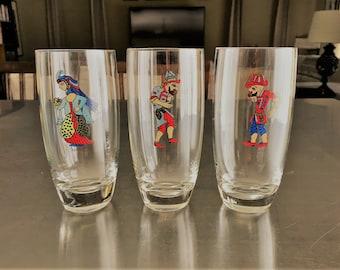 Rare Turkish Shadow Theater Glasses - Set of Three - Karagoz, Hacivad, Zenne - Collectible Drinking Glasses