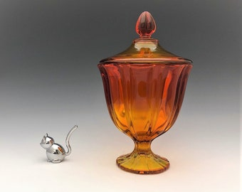 L.E. Smith Simplicity #4805 Candy Jar in Flame (Amberina)