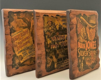 Classic Film Memorabilia - Decoupage Movie Plaques - Tarzan - Sands of Iwo Jima - Silver Spurs - John Wayne - Home Theater Decor
