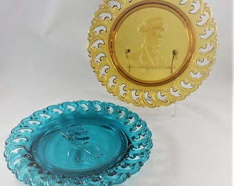 Vintage Civil War Commemorative Glass Plates - L.E. Smith - Jefferson Davis and Abraham Lincoln - Hard to Find