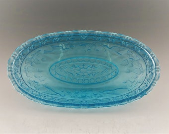 Indiana Glass Bird and Strawberry (#157) Oval Relish Dish - Blue Tiara Exclusives Relish Dish
