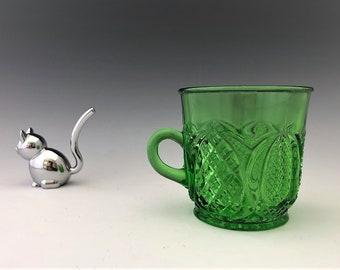 EAPG Green Glass Mug - Tarentum Glass - Harvard (OMN) - AKA Harvard Yard - Early American Pattern Glass - Circa 1896
